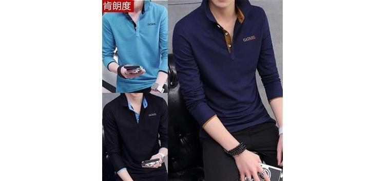 Spring Long Sleeve T-shirt Men's Lapel Bottoming Shirt Slim Polo T-shirt Long Sleeve T-shirt Men's Leading T-shirt