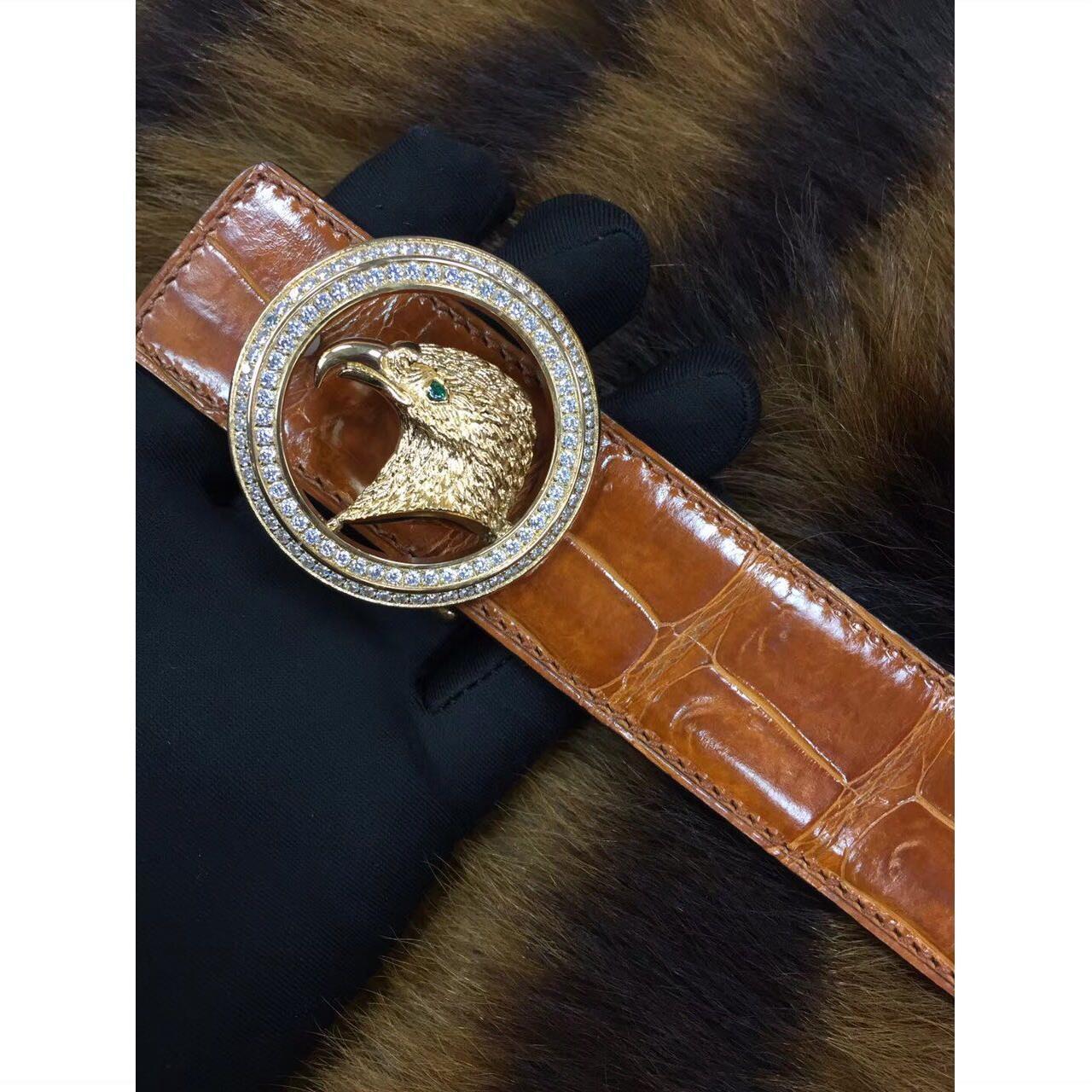 新加坡尼罗鳄高光肚皮不拼接竹节纹皮带腰带3.5宽 送手工镶钻扣