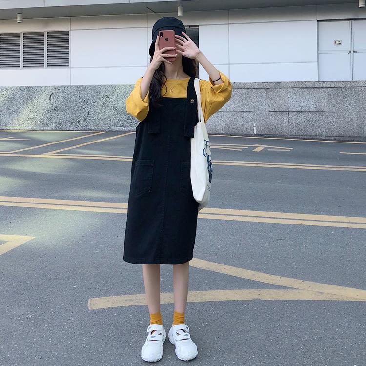 热卖新款2021春夏新款韩版时尚简约宽松连衣裙矮个子百搭牛仔背带