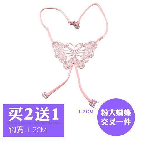便宜的蝴蝶细带交叉肩带挂脖美背内衣隐形文胸性感透明肩带女胸罩带子夏
