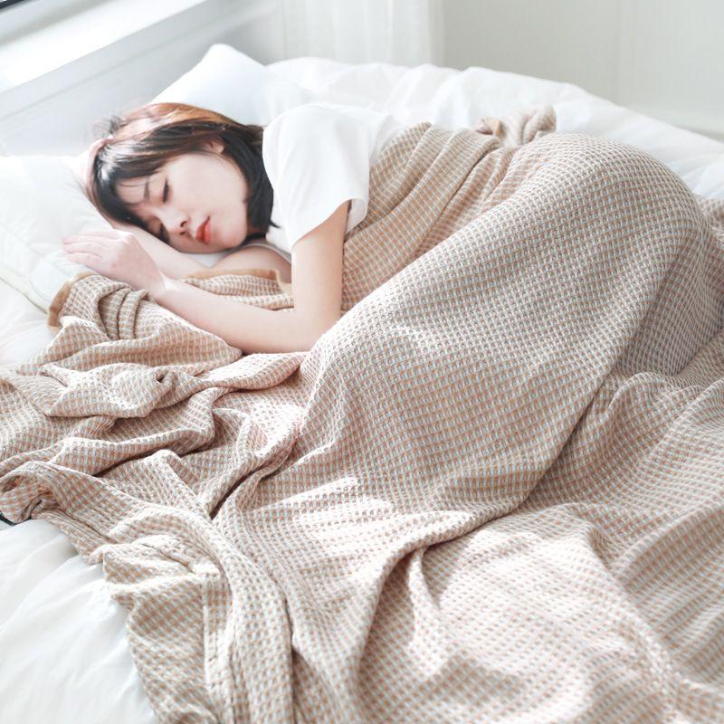 竹纤维毛巾被毛巾毯纯棉单双人夏季午睡毯全棉华夫格成人盖毯