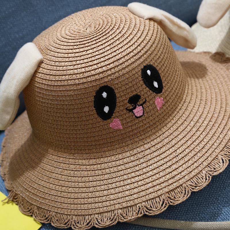 抖音兔耳朵会动的帽子防晒兔子帽遮阳帽儿童渔夫帽女网红帽夏季款