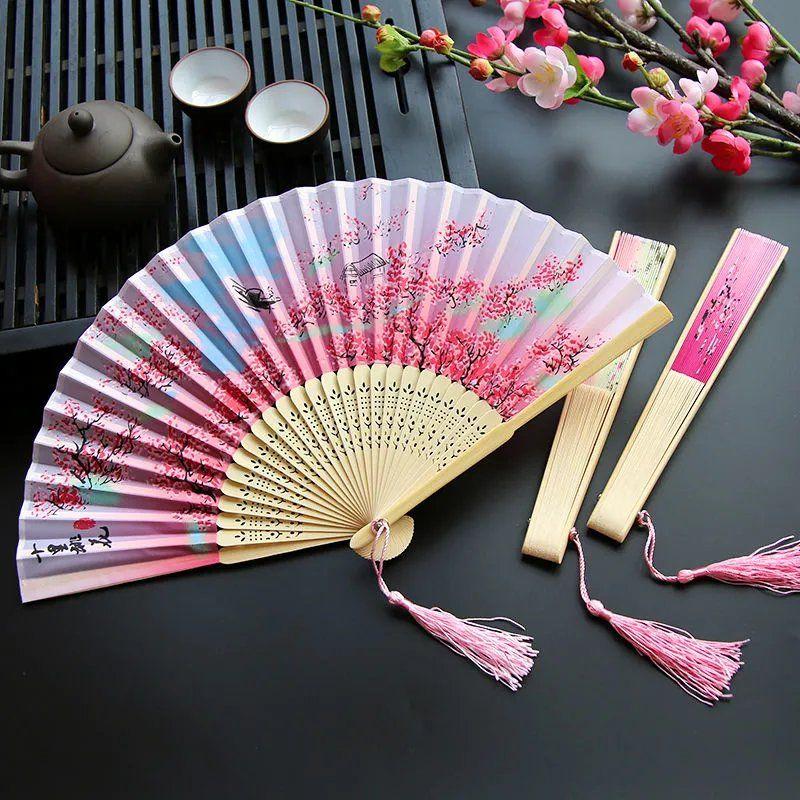 古风丝布女折叠扇子中国古典日式古风舞蹈演出女式流苏随身折叠小