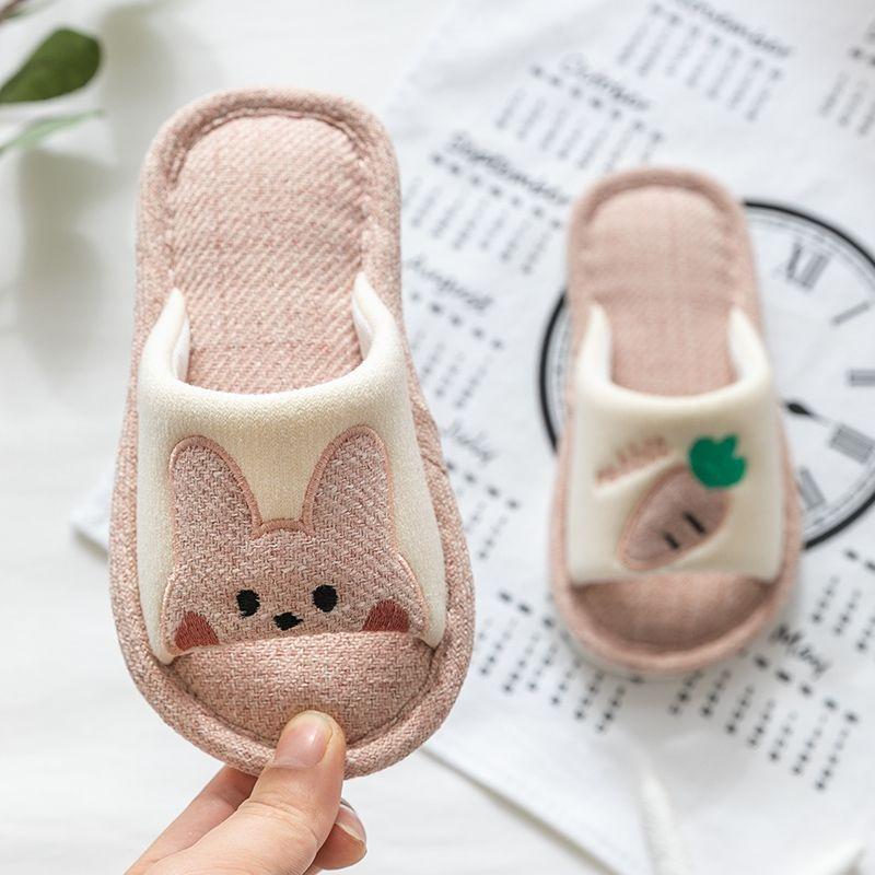 儿童拖鞋棉麻夏春秋女童幼儿宝宝室内家用防滑软底小孩亚麻家居鞋