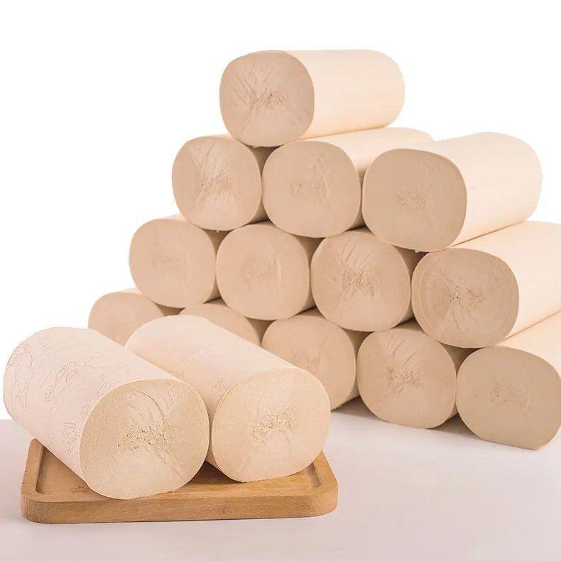 【50卷6斤送毛巾】50卷12卷竹浆本色卫生纸卷纸批发家用卷筒纸巾