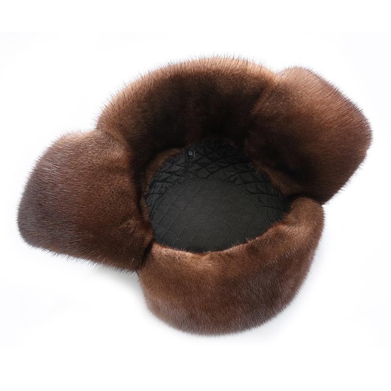 貂皮帽子男 水貂雷锋帽东北户外真皮护耳中老年人冬季保暖皮草帽