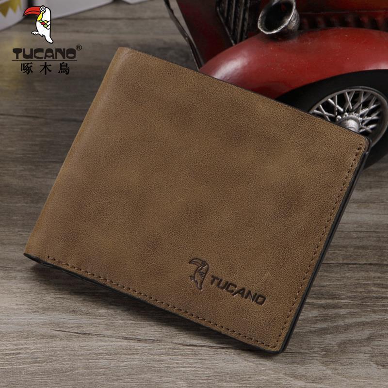 正品 新款啄木鸟男士短款钱包头层牛皮钱夹横款皮夹青年商务皮夹