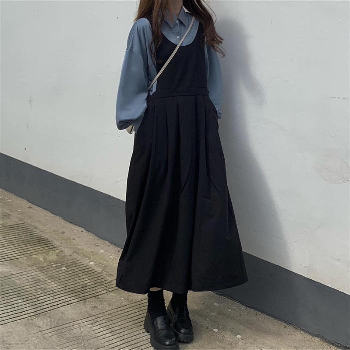 热卖新款秋季套装女学院风韩版宽松百搭衬衫+长款黑色背带连衣裙