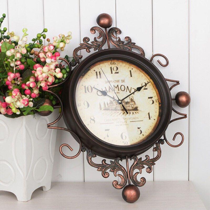 地中海风格复古工艺铁艺挂钟 现代家居静音铁艺术时钟大号时钟个