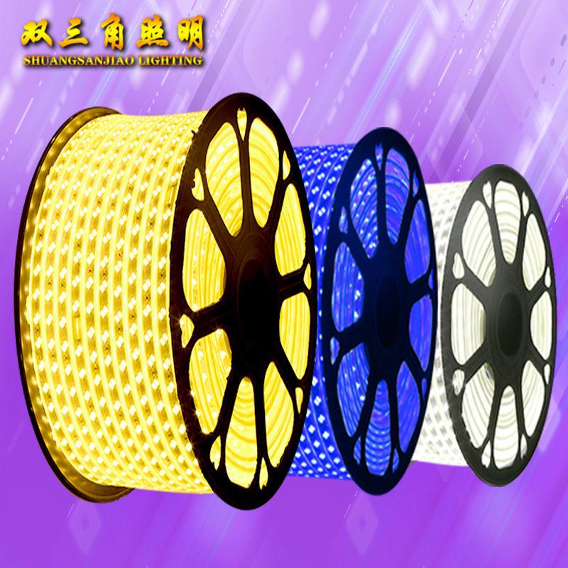 led灯带5050防水高压3014LED贴片柔性软灯条2835双排三排220v灯带