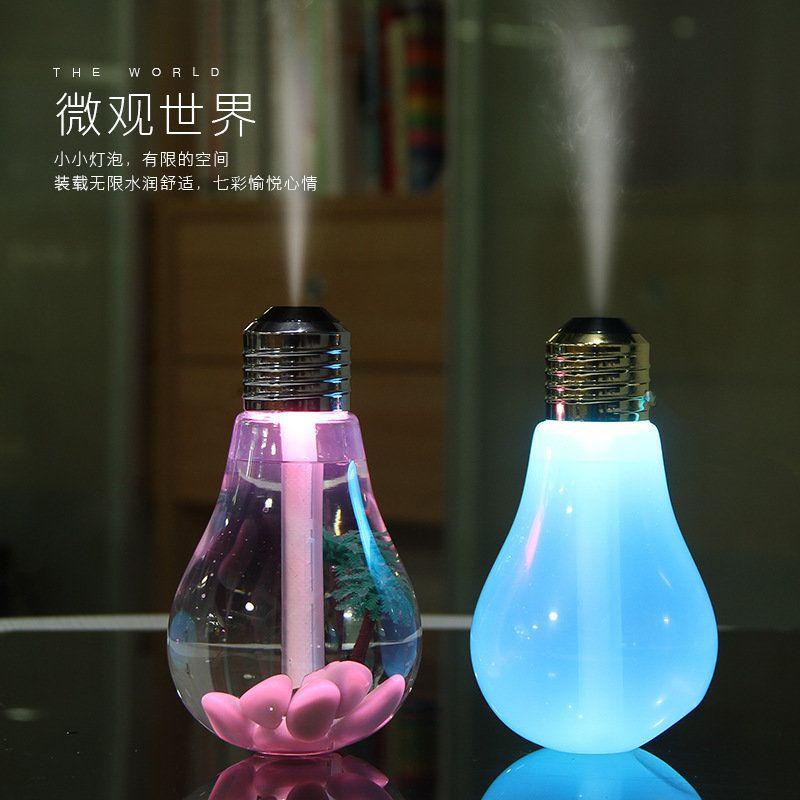 新款创意灯泡加湿器 七彩夜灯空气加湿器 迷你usb静音加湿器定制