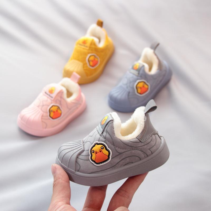 宝宝鞋子冬季加绒棉鞋男女童贝壳头家居鞋软底婴儿学步鞋0-1-3岁