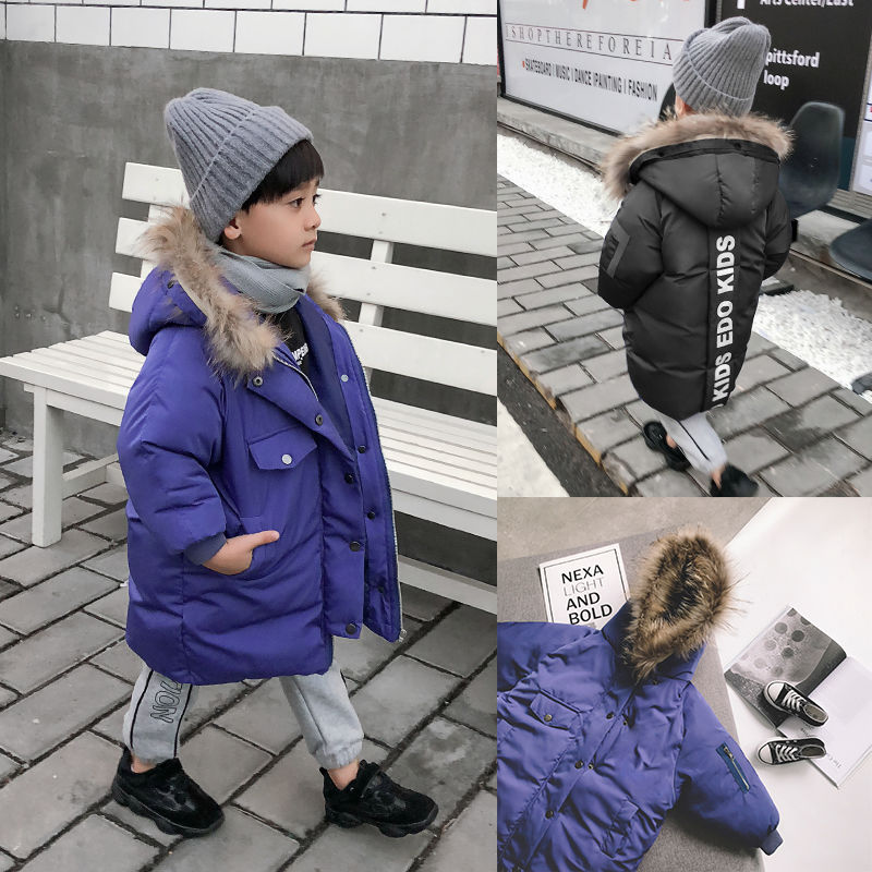 韩版男大童冬装洋气棉袄儿童棉袄加厚外套男中大童中长款毛领棉服
