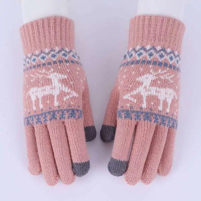 女士手套秋冬季触屏毛线加绒保暖可爱韩版学生手套骑开车加绒防寒