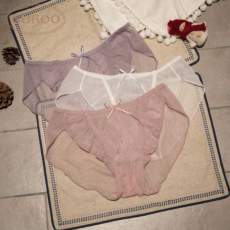 果壳内裤3条组合甜美网纱透气
