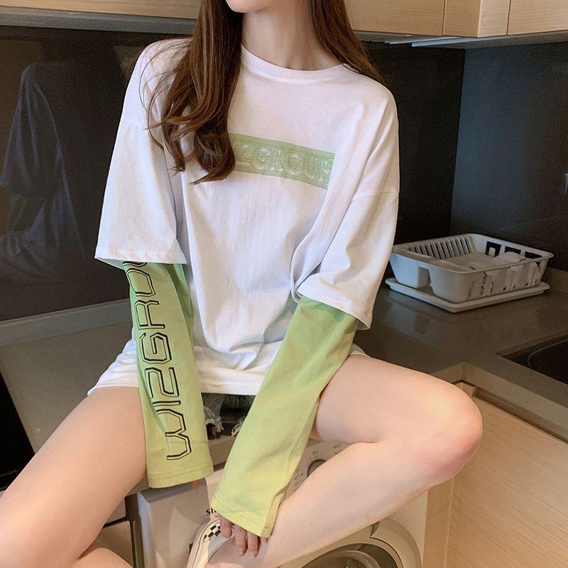 春夏季新款假两件拼接长袖t恤韩版宽松