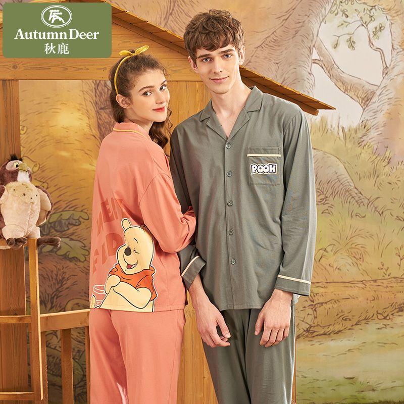 迪士尼联名秋鹿纯棉情侣睡衣春秋长袖时尚卡通男女家居服薄款开衫