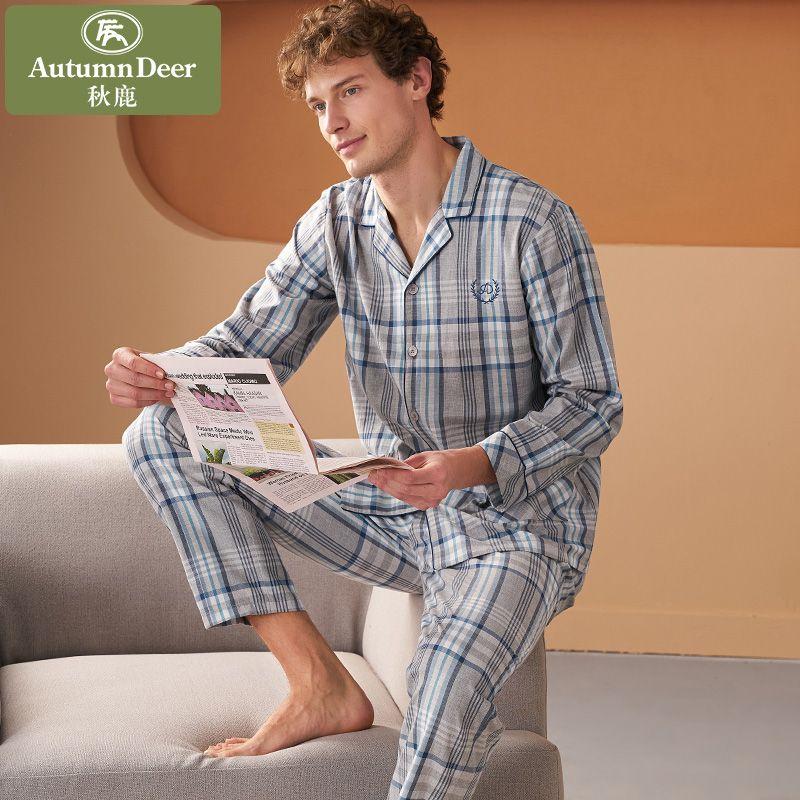 秋鹿新款男士睡衣长袖纯棉春秋季休闲格子薄款全棉舒适家居服套装