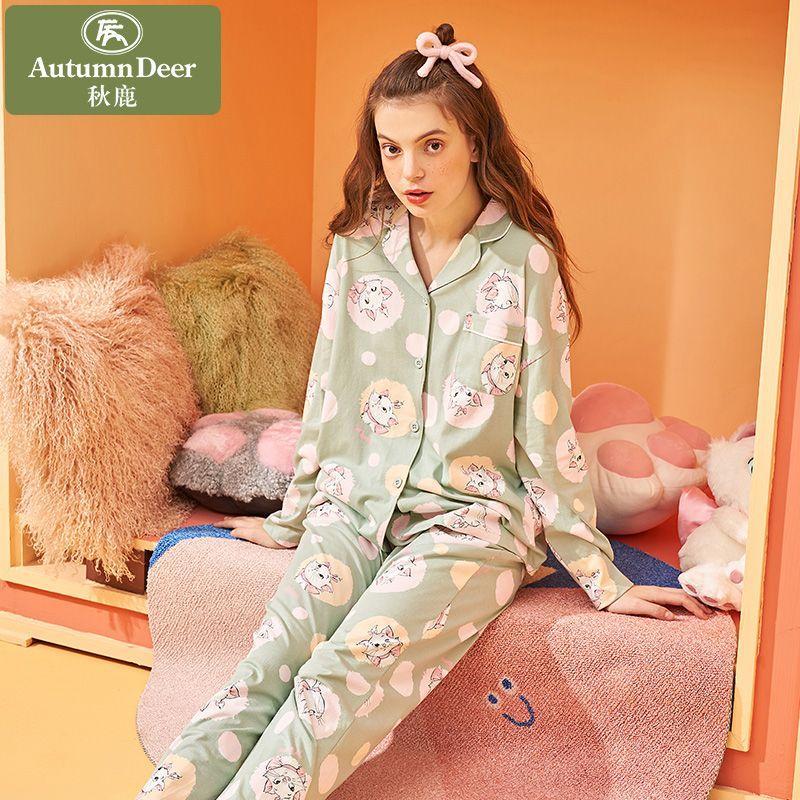 迪士尼联名秋鹿纯棉睡衣女春秋薄款长袖卡通家居服套装可爱开衫