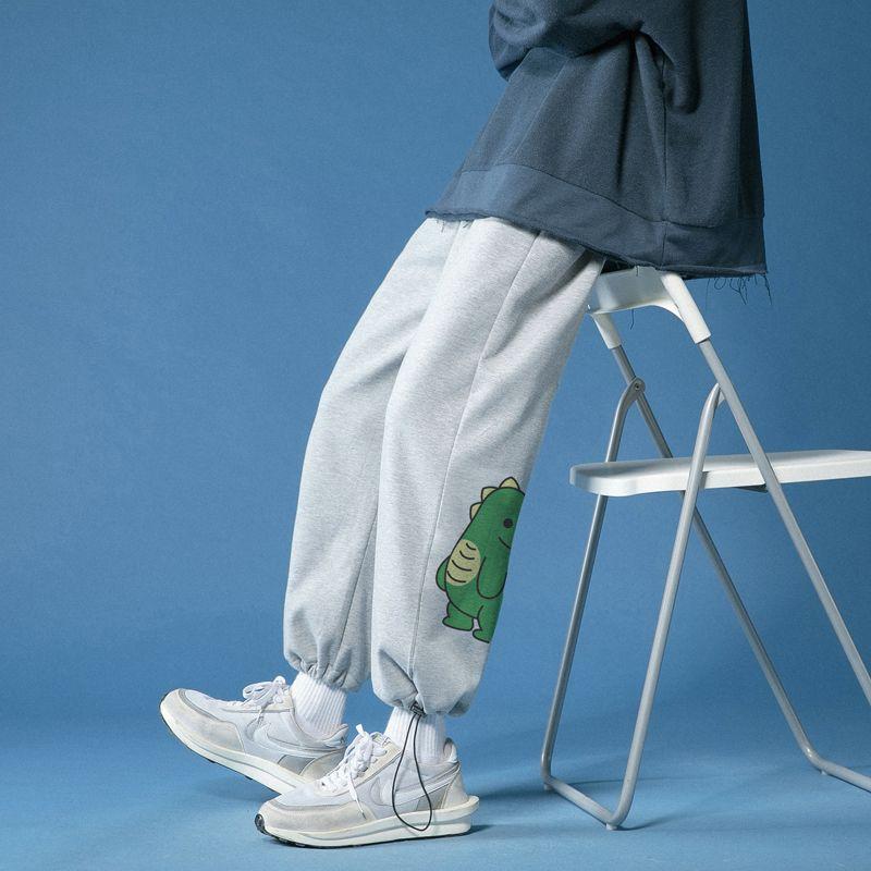 2021潮卫裤子男春秋抽绳束脚运动裤卡通小恐龙卫裤痞帅炸街九分裤