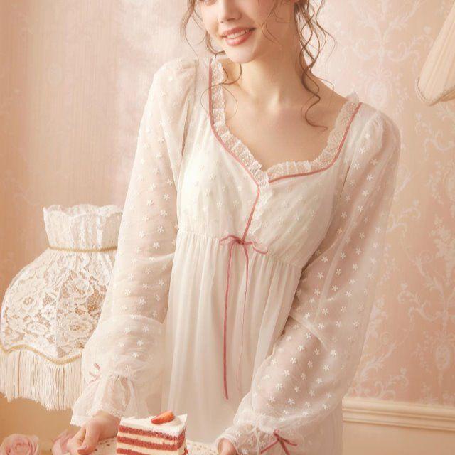 RoseTree公主睡裙女春秋长袖薄款宫廷仙女风性感蕾丝睡衣裙子长款