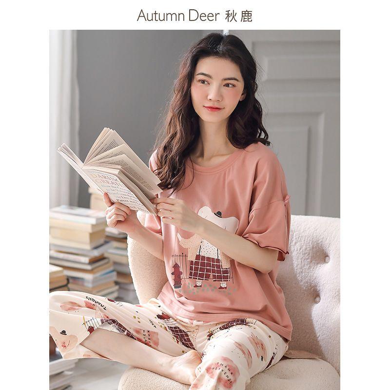 秋鹿睡衣女2021年新款夏季纯棉短袖七分裤荷叶袖家居服女两件套装