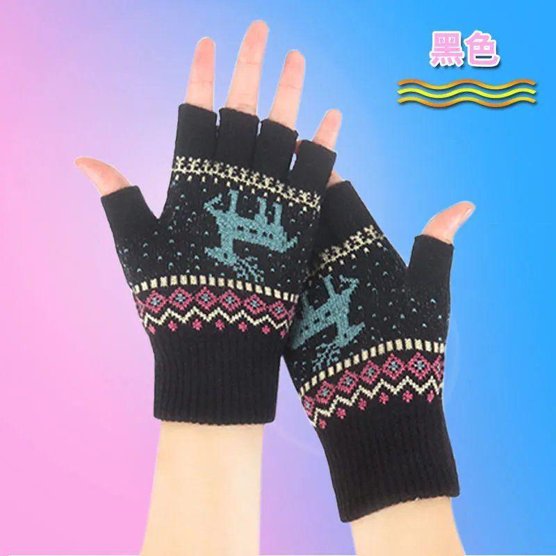 韩版半指手套女秋冬季保暖针织漏五指学生写字毛线露指加厚百搭冬
