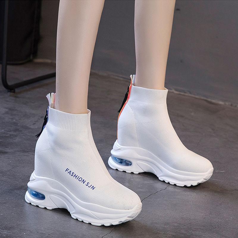 弹力袜子鞋女厚底内增高明星同款高帮小白鞋韩版百搭夏季休闲女鞋