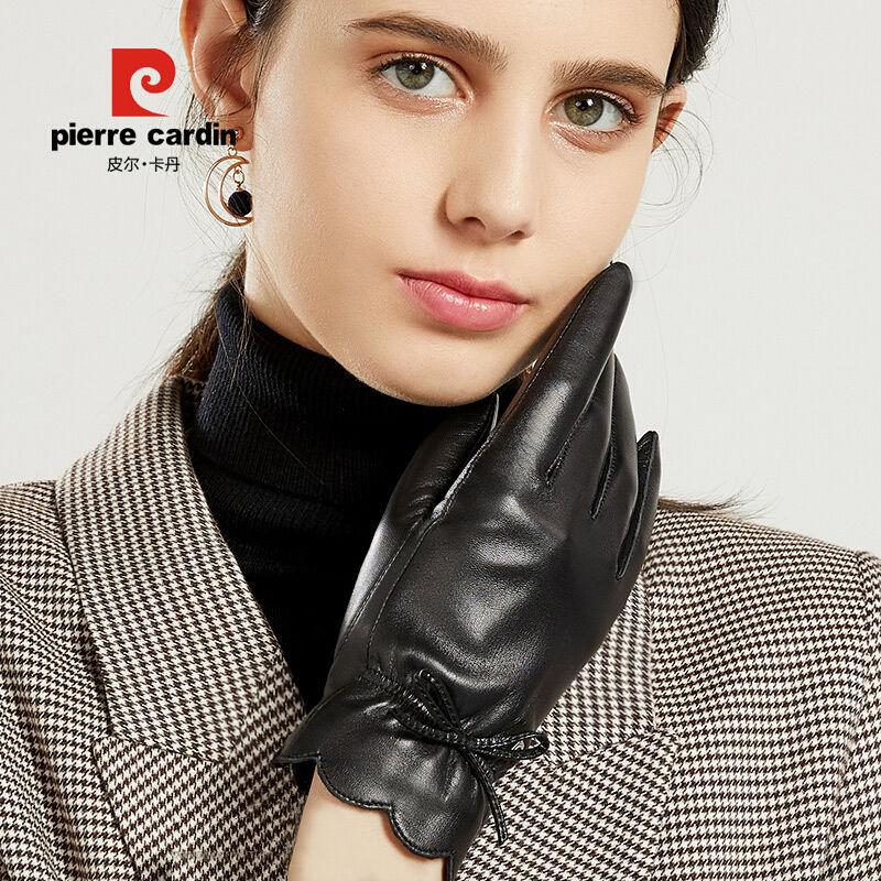皮尔卡丹女士触摸屏羊皮真皮手套冬保暖加绒加厚防寒开车骑行批发