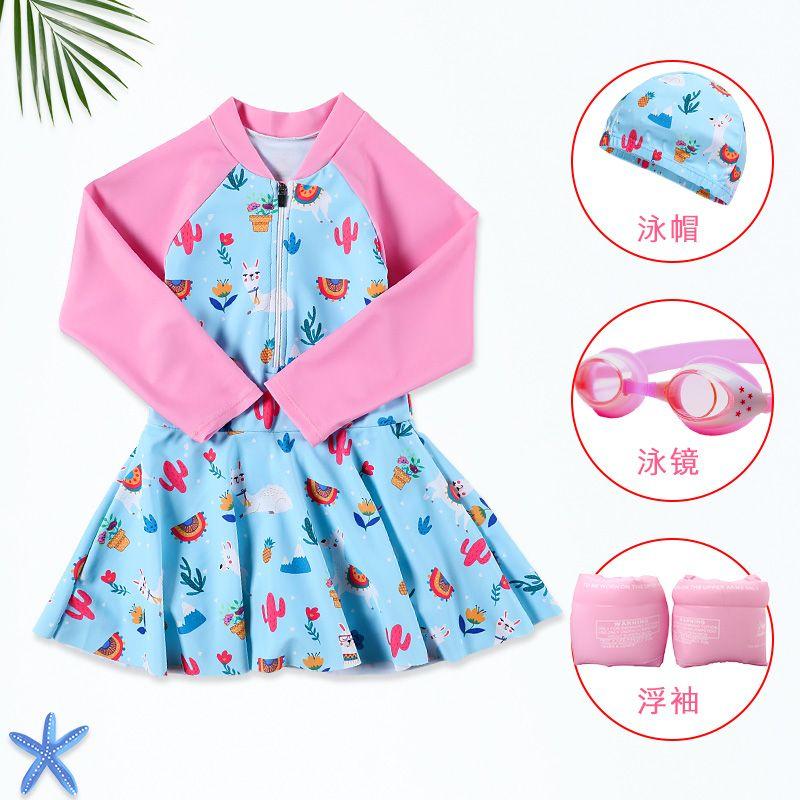 儿童泳衣女童长袖连体女孩中大童韩国公主裙式可爱洋气温泉游泳衣
