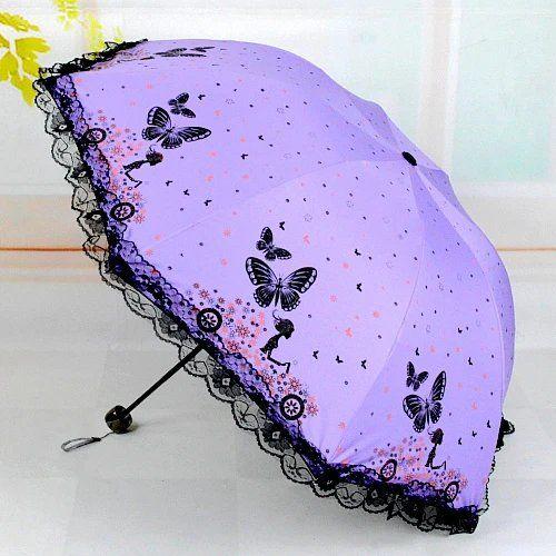 蝴蝶雨伞晴雨两用伞遮阳伞防紫外线太阳伞三折叠黑胶伞小清新