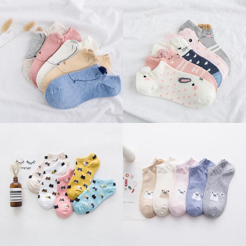 新款春秋季女士棉质卡通船袜棉质袜子立体袜动物耳朵毛绒款船袜