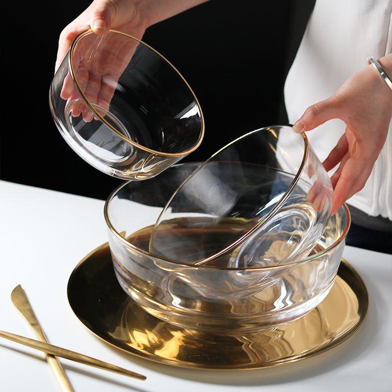 玻璃碗家用金边钢化透明沙拉碗甜品创意水果圆形网红ins精致汤碗