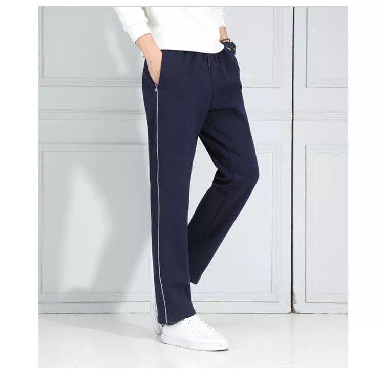 蓝色校服裤白边运动裤小学生初中高中男女校裤薄款深蓝色直筒裤子