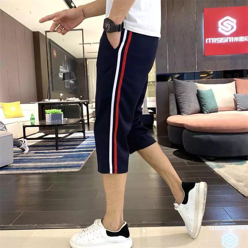 校服7分裤中学生校裤短裤宽松两道杠运动裤男深蓝色校服裤子夏季