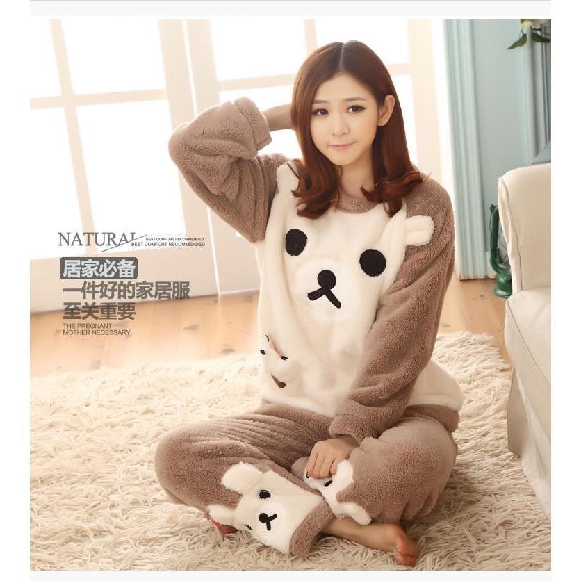 冬季女士法兰绒棕色饼干熊和白色饼干熊套装  瑞兴睡衣