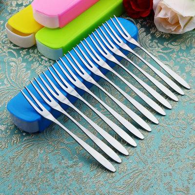 【收纳盒+15支叉】不锈钢水果叉 水果签蛋糕甜品叉子便捷餐具套装