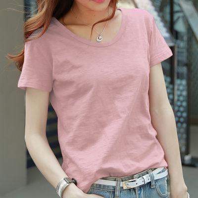 纯棉t恤女短袖2020年夏季新款纯色宽松韩版上衣女竹节棉大码女装