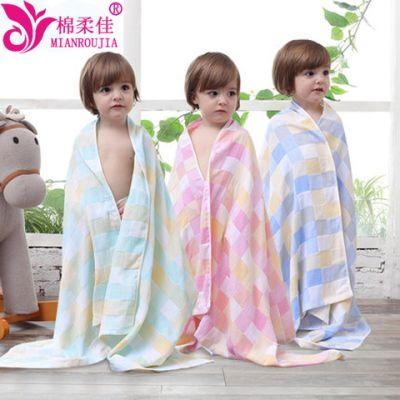 纯棉婴儿浴巾 宝宝新生儿童洗澡双层纱布被子盖毯毛巾被 超柔吸水