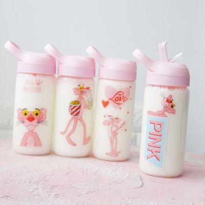 少女心粉红豹吸管玻璃杯子女学生韩版水杯创意清新便携可爱成人杯