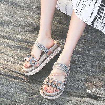 拖鞋女夏外穿时尚2020新款韩版凉拖松糕鞋学生厚底休闲室外沙滩鞋