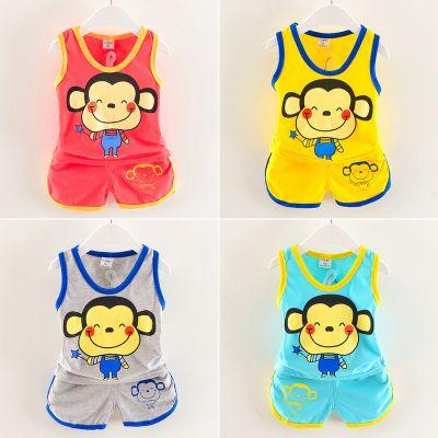 儿童无袖套装1-2岁男女宝宝童装婴幼童夏季背心两件套韩版棉质套