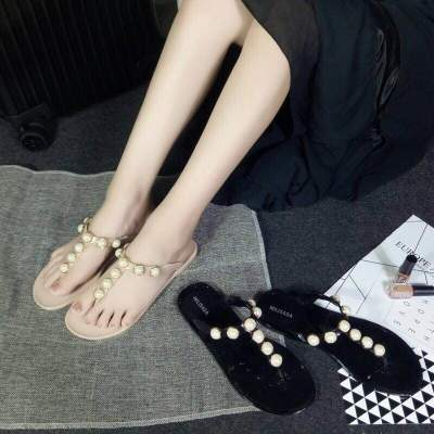 夏季人字拖鞋珍珠时尚T字拖学生平底防滑夹脚沙滩鞋韩版简约凉拖