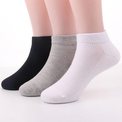 儿童袜子夏季薄款男女宝宝船袜学生网眼透气夏款纯色运动短袜白色