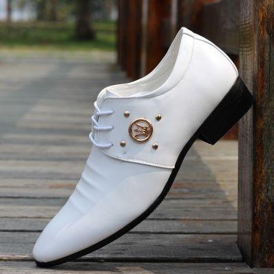 时尚男鞋英伦商务休闲正装皮鞋透气韩版系带尖头白色新郎婚鞋青年