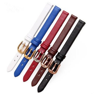 超薄软柔头层牛皮真皮手表带男女表带表链白棕红蓝黑色8 10 12mm6