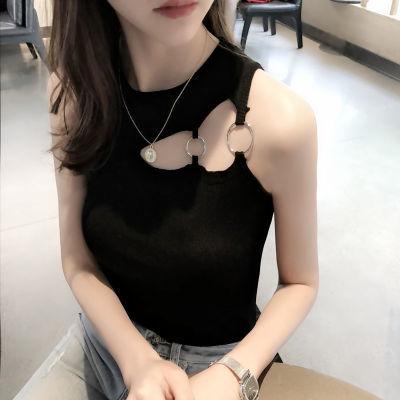 针织吊带小背心女个性学生韩版外穿夏季修身显瘦无袖露肩打底衫潮