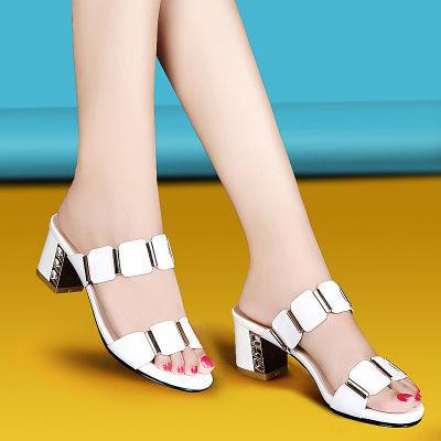 真皮拖鞋女2020夏季网红同款时尚外穿中跟粗跟一字拖韩版显瘦凉鞋