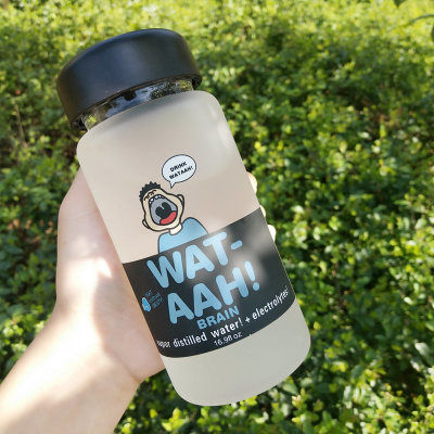 韩式简约玻璃水杯男女学生便携杯子时尚潮流水瓶创意个性牛奶杯子