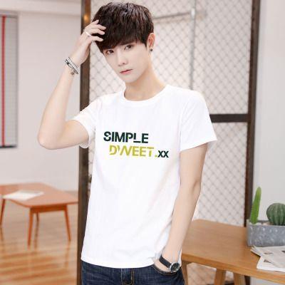 厂家100%纯棉男士短袖T恤青少年T恤初中生半袖大码圆领男士T恤衫
